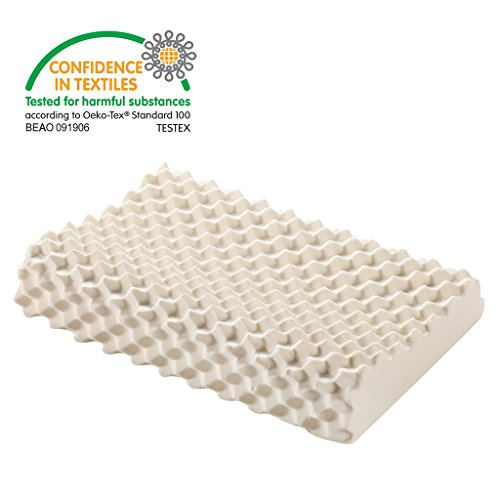 "LANGRIA Soft Contoured Natural Latex Pillow with Breathable Latex Core Convoluted Ergonomic Removable Zippered Cover OEKO-TEX Certified 23.60""x 13.7""x 4.7""/3.9"",Eggcrate Design"
