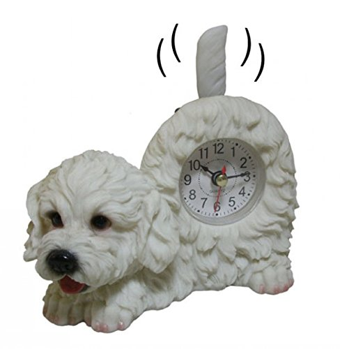 Wagging Table Clock - AIE GF95 Small Bichon Frise Desk Clock 6''W x 5''H with Wagging Tail