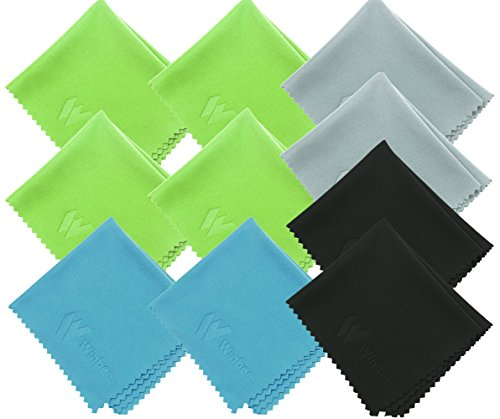 ((10 Pack) Winbee Microfiber Cleaning Cloth for Lens, Eyeglasses, iPad, iPhone, Mac, Cell Phone, Tablets, Laptop, Glasses - Safe and Lint-Free Cleaner Cloths to Clean Camera Lenses, LCD TV)