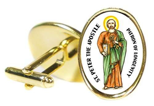 St Peter the Apostle Patron of Longevity 18x24mm (3/4'' X 1'') Oval Gold Pair of Cuff Links by Artisan Courtyard