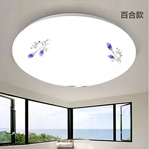 odern simple creative fashion personalized ceiling light Round led rounded pteris full white aisle indoor engineering models lily 12W-29CM three-color light (12 Light Rounded Pendant)