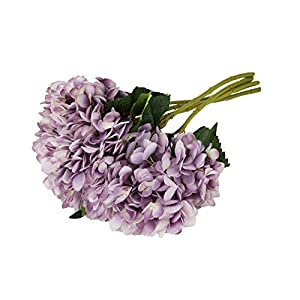 EZFLOWERY 5 Pcs Artificial Silk Hydrangeas Flowers Bouquet Arrangement, for Home Decor, Wedding, Office, Room, Hotel, Event, Party Decoration (Purple) 115