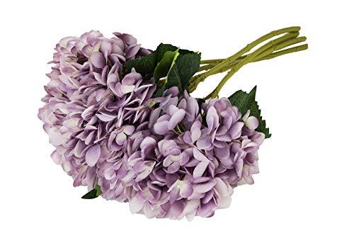 EZFLOWERY 5 Pcs Artificial Silk Hydrangeas Flowers Bouquet Arrangement, for Home Decor, Wedding, Office, Room, Hotel, Event, Party Decoration (Purple) (Hydrangea Arrangements Purple)