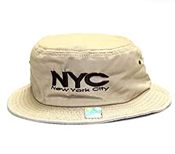 City Hunter Bd1110 Cotton Design Bucket Hat - NYC (Khaki - L/xl Size)