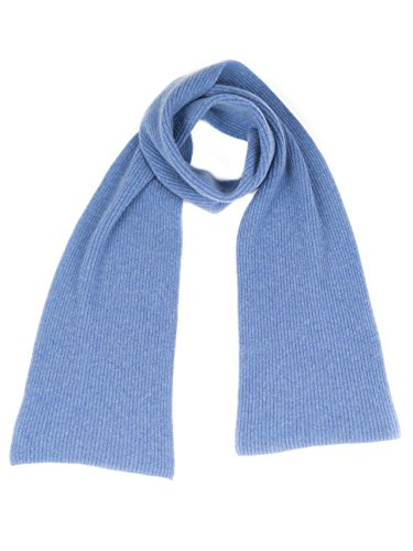 Cashmere Ribbed Scarf (Dalle Piane Cashmere - Ribbed Scarf 100% cashmere - Made in Italy - Man, Color: Light blue, One size)