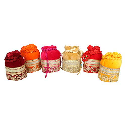 Indian Velvet Potli (Pack of 6 Potli Bag in assorted color), Jwelery Pouch, Coins Pouch