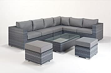Captivating Manhattan Grey Garden Furniture Large Corner Sofa Set Right