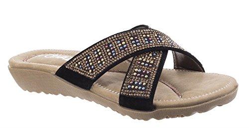 Divaz Womens/Ladies Textile Diamante Crossover Mule Sandals Style Madonna sz 36-41 Black Y25I4