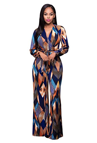 Women's Long Sleeve Plunge Wide Leg Long Jumpsuits Rompers S
