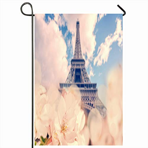 (Ahawoso Garden Flag 12x18 Inches Monument Springtime Pink Bokeh Cherry Blossom Eiffel Tower Scenic Spring Attraction Cityscape Decorative Seasonal Double Sided Home House Outdoor Yard Sign)