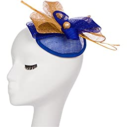 Navy Blue & Gold Fascinator with Statement Quill Detail