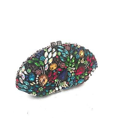 Heart&M Frauen Vintage Abend Clutch Taschen handgefertigt mit Glas Stein in Multi