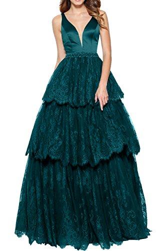 Rock mia Dunkel Brau Ballkleider Blau La Promkleider Ausschnitt Linie A V Lang Prinzess Abschlussballkleider Spitze Tief Abendkleider UqwwZdxO5