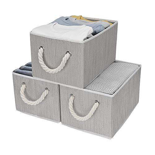 StorageWorks Decorative Storage Bins with Cotton Rope Handles, Foldable Storage Basket, Gray, Bamboo Style, 3-Pack, Large,14.4x10.0x8.3 inches -