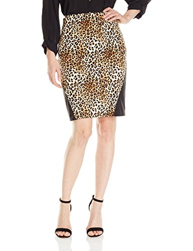 Star Vixen Women's Stretch Sexy Secretary Pencil Skirt with Insets, Leopard/Black, XL (Leopard Stretch Skirt)