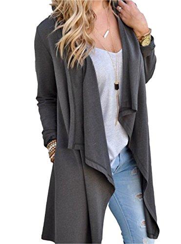 Tankoo Women Solid Essential Long Cascading Cardigan Grey XL