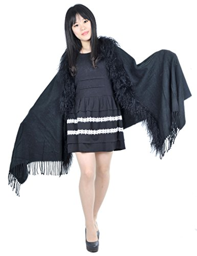 CX FUR Women Warm Mongolian Lamb Fur Trim Pashmina,Black