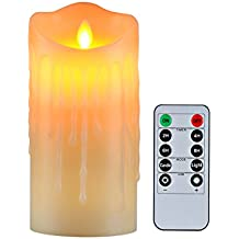 """Flameless Candles with 10 Key Remote Timer Flickering Tear Wave Shaped Tealight Size 3"""" 4"""" 5"""" 6"""" 7"""" 8"""" Real Wax Simulate Dripping led Candles Battery Operated Safe for Indoor Outdoor Decor (3""""x6"""")"""
