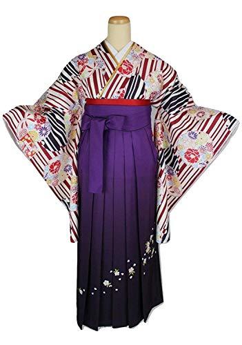 二尺袖 05-A-3SET 着物(Fサイズ) 選べる刺繍袴 おまかせ袴下帯 3点セット 卒業式に