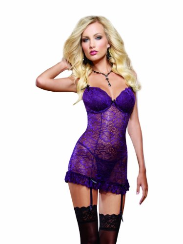 Dreamgirl Women's Sensual Desire Stretch Lace Garter Slip and Thong Set