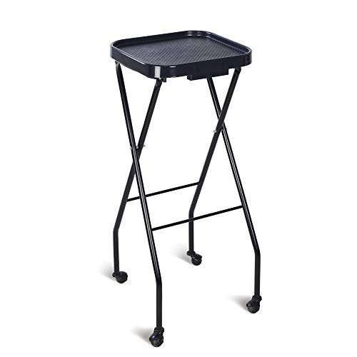 Folding Salon Tray, Salon Trolley, Salon Cart Tattoo Rolling Tray Station-Black