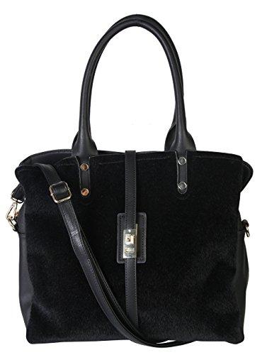 Triple 2472 sWu7HlZrB9 Rimen Compartments Womens Handbag Tote Zipper amp; OM Black Leather Closure PU 7RffqXwZ
