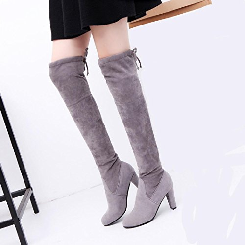 leather Knee Stretch Artificial The High Solid Block Boots Xjp Women's Boots Heel Gray Over vq6ZW0