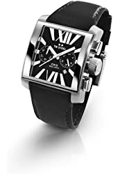 Square Stainless Steel Ceo Goliath Chronograph Black Dial Leather Strap Date Display