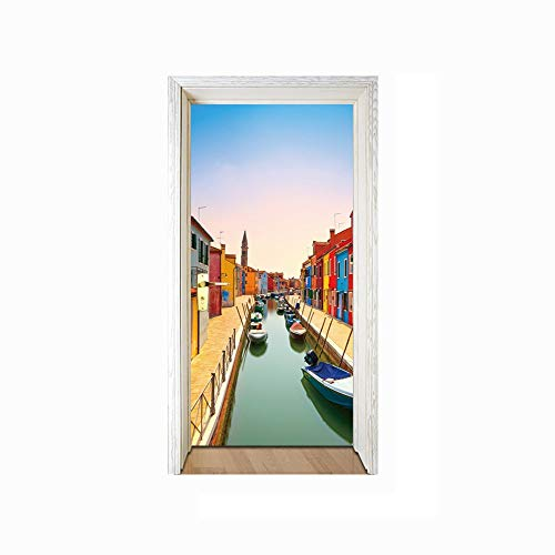 Stereo Canal (SXKRE Door sticker3D Stereo Door Venice Burano Island Canal Living Room Bedroom Door Personality Decorative Wall Sticker)