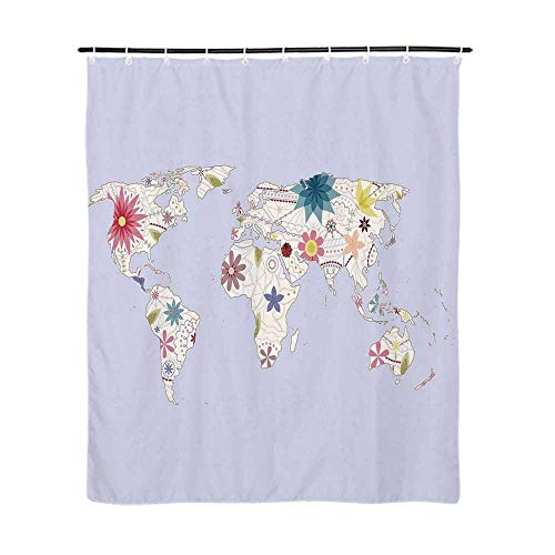 35' Atlas - Floral World Map Fashionable Shower Curtain,Retro Style Map with Pastel Toned Blossoms Kids Girls Atlas Illustration Decorative for Bathroom,72''L x 35''W