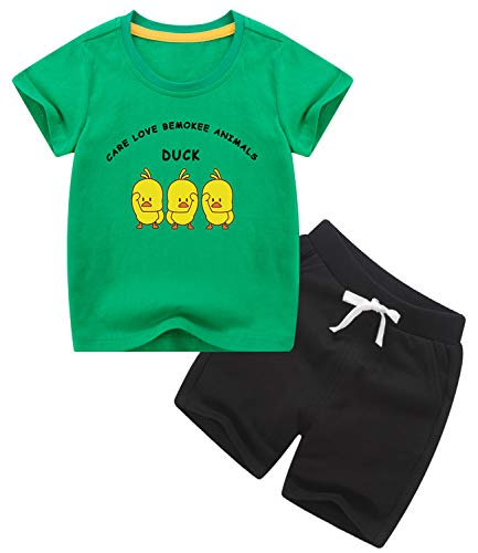 3T Toddler Boys Clothes Kids Summer Outfit Duck Cotton Green T Shirt and Black Shorts with Pocket