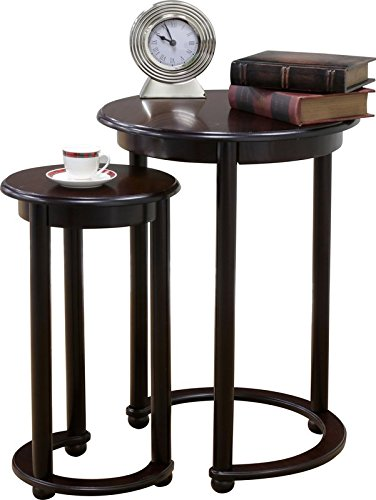 2 Piece Nesting Tables with Espresso Finish Made of Wood Distinctive Crescent Base on Larger Table Round Shape (High Table 22' Lamp)