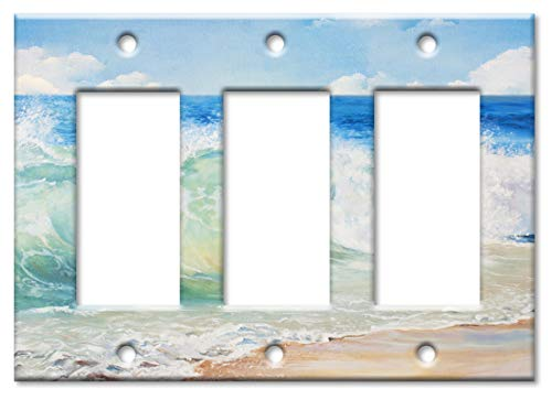 Rocker Switchplate Cover - Art Plates 3 Gang Decora/GFCI Wall Plate - Beach Painting