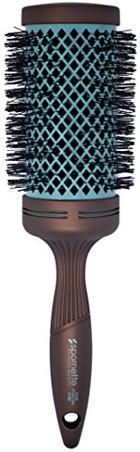 Spornette Ion Fusion 3 inch Ceramic Round Brush (#186) with Nylon Bristles and Vented Thermal Barrel for Styling, Curling, Smoothing & Straightening Medium to Long Length Wavy or Curly Hair