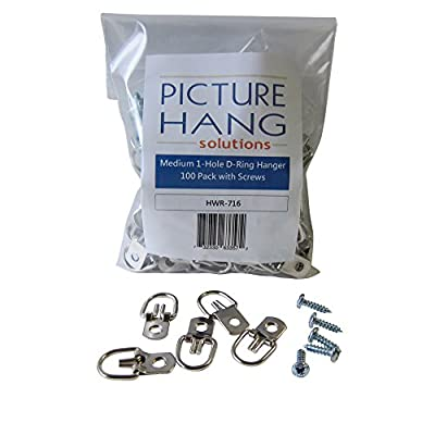 100 Pack D-Ring Picture Hanger with Screws