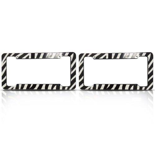 Zebra License Plate Frames (Set of Two) Made of Plastic