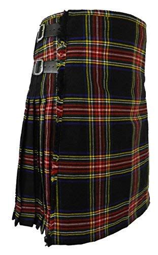 (Men's Scottish Tartan Acrylic Kilts 16 oz - 8 yard (36, Black Stewart))