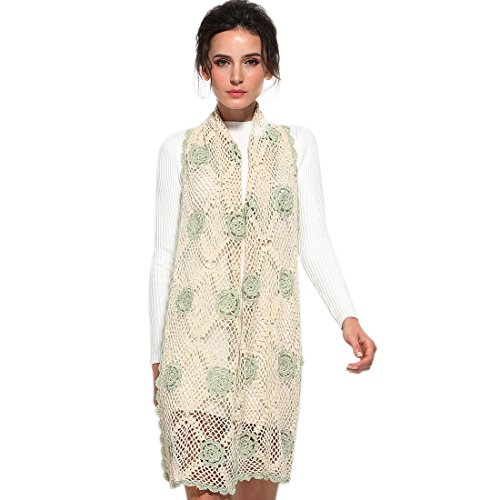 - ZORJAR Wool Scarfs for Women Winter Fashion Scarves Knitted Crochet Flowers Stitching Design (Flower Palegreen)