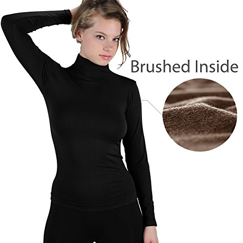 Long Sleeve Spandex Mock Turtleneck (Ekimo T.USA Winter Warm Brushed Fleece Long Sleeve Turtleneck Mock Neck Top Shirt (Black))