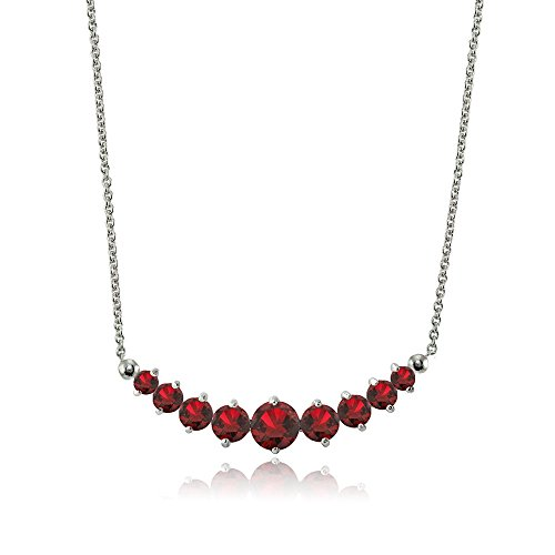 Lovve Sterling Silver Created Ruby Graduated Journey Necklace with 18 Inch Chain