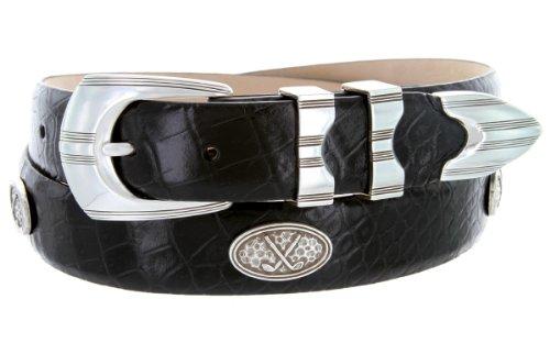 Golf Concho Belts (Silverwood - Men's Italian Calfskin Designer Dress Belt with Golf Conchos (38 Alligator)