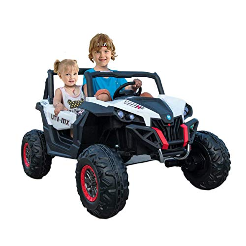 Dporticus 12V Ride On Toys 2 Seater Electric Jeep Cool Toy Cars for Kids Off Road Vehicle with Remote Control Power Wheels for Boys -
