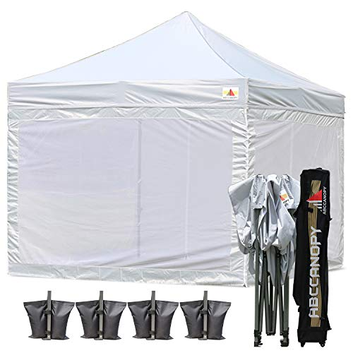 ABCCANOPY 10×10 Pop up Canopy Tent Commercial Tents with White Mesh Walls Camping Screen Mesh House Bonus Rolly Carry Bag and 4X Weight Bag, 30 Mutil Colors