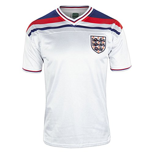 England Official Soccer Gift Mens 1982 World Cup Finals Home Shirt White (England Soccer Kit)