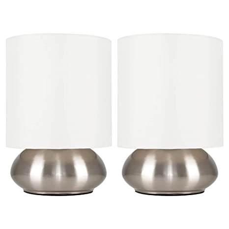 MiniSun – Set de dos modernas lámparas de mesa táctiles cromadas - pantallas de color crema