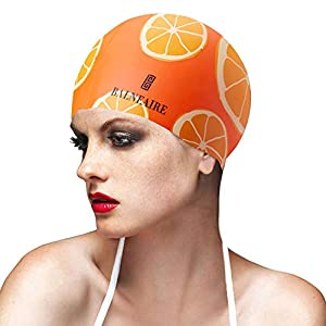 BALNEAIRE Swim Cap for Women Long Short Hair, Fruit Printing Waterproof Silicone Swimming Cap