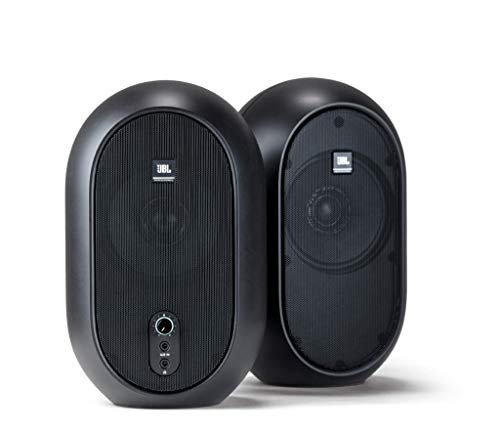 - JBL Professional 1 Series, 104 Compact Powered Desktop Reference Monitors (sold as pair), Black (JBL104)