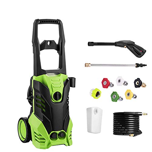 PaPafix - Electric Pressure Washer 3000 PSI, 1.80 GPM, 1800W Power Washer, Professional Washer Cleaner Machine with 5 Quick-Connect Spray Nozzles & Rolling Wheels