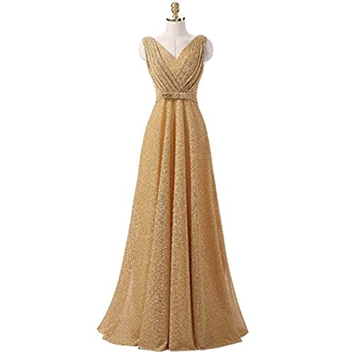 OYISHA Womens Classic V-Neck Pleated Long Wedding Evening Formal Gown EP11 Gold 12