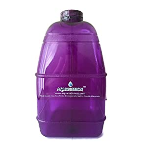 """1 Gallon BPA FREE FDA Approved Reusable Plastic Drinking Square Water Big Mouth """"Dairy"""" Bottle Jug Container with Handle Holder - Made in USA (Purple)"""